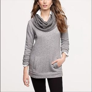 J Crew Funnel Neck Gray Marled Sweater Blogger Fav